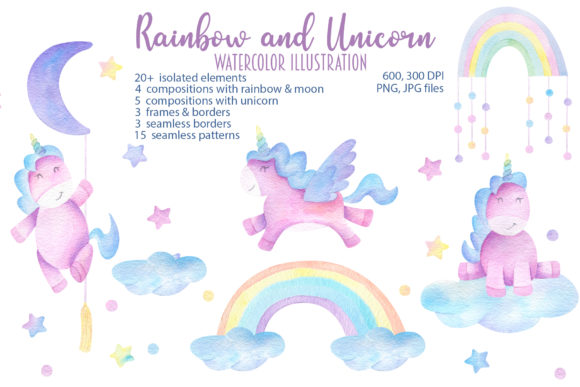 Print on Demand: Watercolor Unicorn and Rainbow Graphic Illustrations By Alena Yasneva