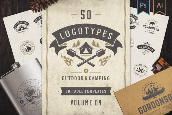 50 Outdoor Logos and Badges Graphic Logos By vasyako1984 - Image 1