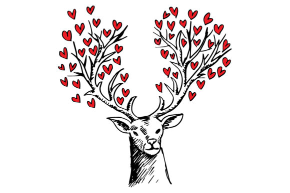 Abstract Deer with Heart Shape Graphic Illustrations By han.dhini