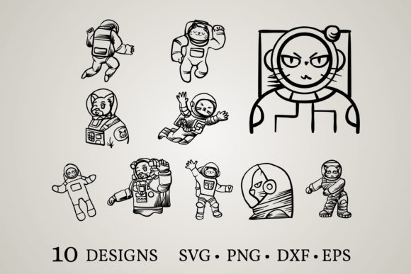 Astronaut Cat Bundle Graphic Print Templates By Euphoria Design
