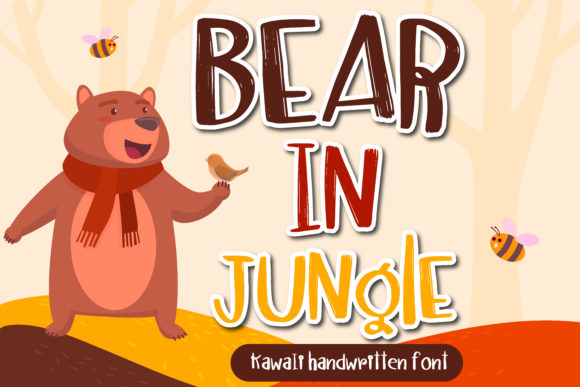 Print on Demand: Bear in Jungle Script & Handwritten Font By vividdiy8