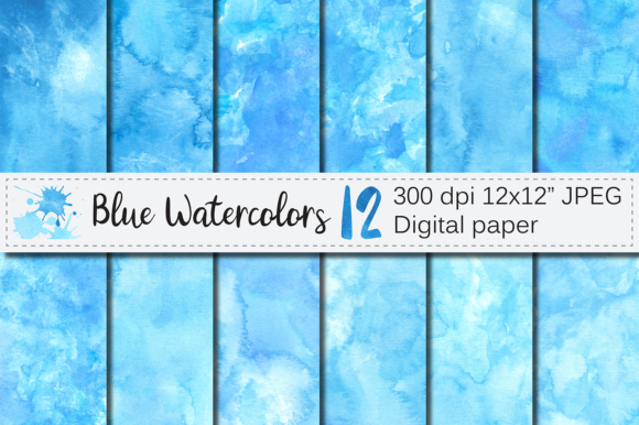 Blue Watercolor Digital Paper / Textures Graphic Backgrounds By VR Digital Design