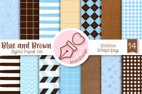 Print on Demand: Blue and Brown Digital Paper Set Graphic Backgrounds By Mutchi Design