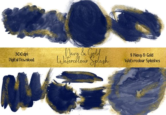 Blue and Gold Watercolour Splash Graphic Backgrounds By STBB