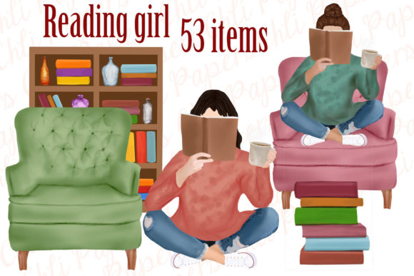 Girl with Book Reading Clipart Grafik Illustrationen von ChiliPapers