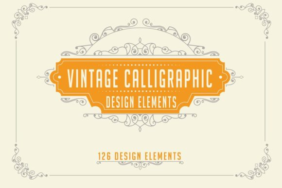 Calligraphic Design Elements Set Graphic Web Elements By AUK_SOLUTION