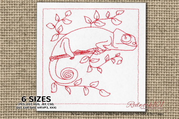 Chameleon Redwork Reptiles Embroidery Design By Redwork101