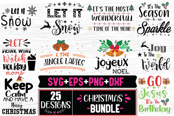 Print on Demand: Christmas Quotes Bundle Graphic Print Templates By svg.in.design