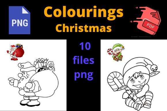 Print on Demand: Christmas Colourings for KDP Graphic KDP Interiors By Dunkyshot