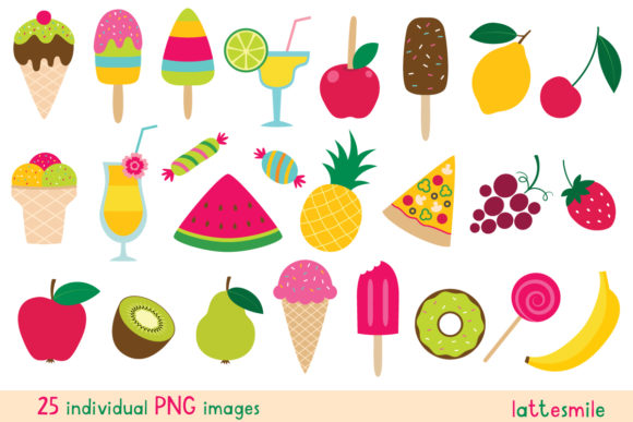 Colorful Summer Sweets Set Graphic Illustrations By lattesmile