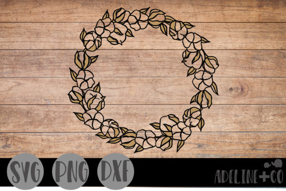Cotton Wreath Farmhouse  Graphic Crafts By adelinenco