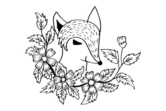 Cute Cartoon Little Fox with Flowers Graphic Illustrations By han.dhini