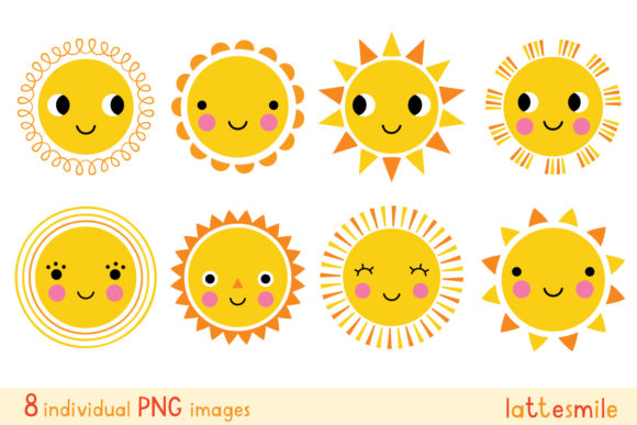 Cute Cartoon Sun Characters Clip Art Graphic Illustrations By lattesmile