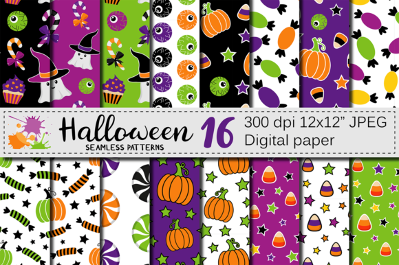 Cute Halloween Seamless Patterns / Paper Graphic Patterns By VR Digital Design - Image 1