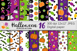 Cute Halloween Seamless Patterns / Paper Graphic Patterns By VR Digital Design