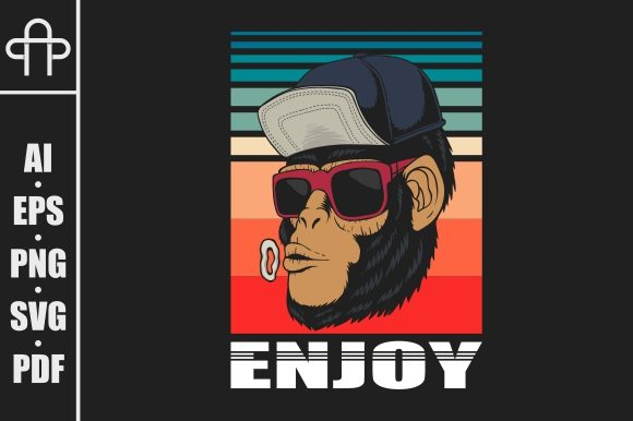 Print on Demand: Enjoy Monkey Retro Vector Illustration Graphic Illustrations By Andypp