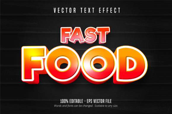 Print on Demand: Fast Food Style Editable Text Effect Graphic Graphic Templates By Mustafa Bekşen