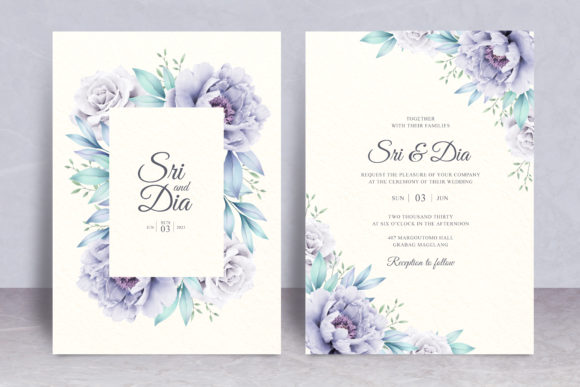 Floral Frame Wedding Card Theme Graphic Print Templates By STWstudio