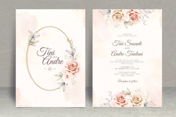 Floral Watercolor Wedding Card Theme Graphic Print Templates By STWstudio