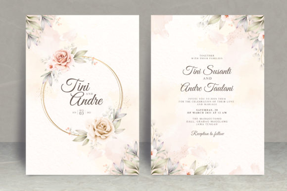 Floral Watercolor Wedding Invitation Set Graphic Print Templates By STWstudio
