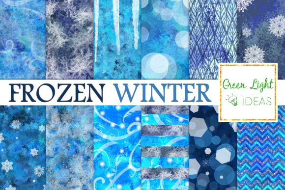 Frozen Winter Snow Icy Digital Papers Graphic Backgrounds By GreenLightIdeas - Image 1