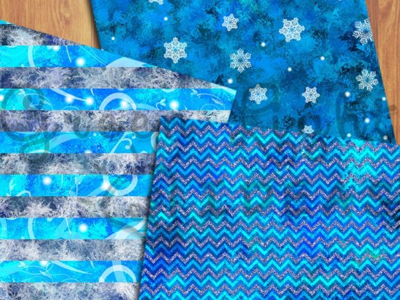 Frozen Winter Snow Icy Digital Papers Graphic Backgrounds By GreenLightIdeas - Image 3