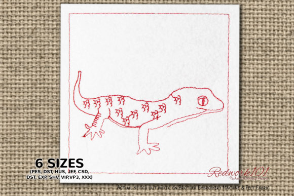 Gekkonidae Lineart Reptiles Embroidery Design By Redwork101