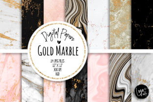 Print on Demand: Gold Marble Digital Paper Set Graphic Backgrounds By loyaarts