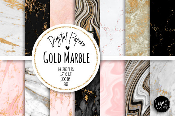 Print on Demand: Gold Marble Digital Paper Set Gráfico Fondos Por loyaarts