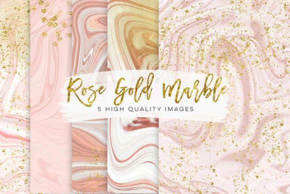 Print on Demand: Gold, Pink and Rose Gold Marbel Clip Art Graphic Illustrations By SunflowerLove