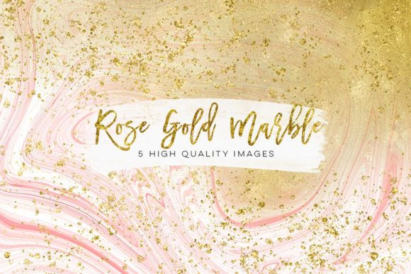 Print on Demand: Gold, Pink and Rose Gold Marble Clip Art Graphic Illustrations By SunflowerLove - Image 2