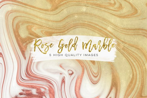 Print on Demand: Gold, Pink and Rose Gold Marble Clip Art Graphic Illustrations By SunflowerLove - Image 3