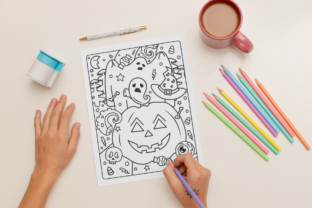 Print on Demand: Halloween Coloring Page for Adults #1 Graphic Print Templates By MikeToon Studio