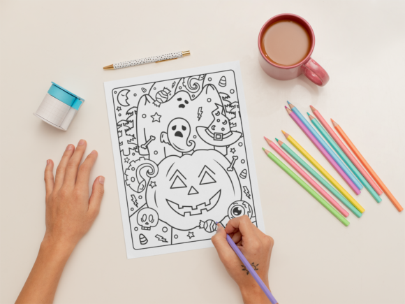 Halloween Coloring Page for Adults #1 Graphic