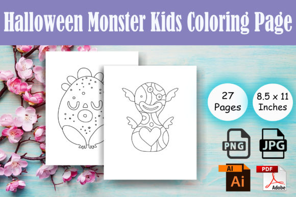 Halloween Monster Kids Coloring Page Graphic Coloring Pages & Books Kids By Sei Ripan - Image 1