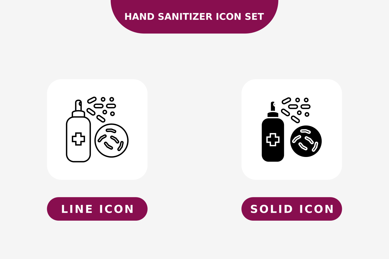 Download Free Hand Sanitaizer Icon Set Line And Solid Graphic By Nunungperdana Creative Fabrica PSD Mockup Template