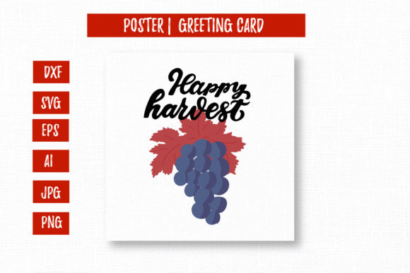 Happy Harvest Lettering with Grape Graphic Illustrations By cyrilliclettering