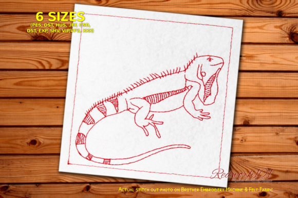 Iguanidae Redwork Reptiles Embroidery Design By Redwork101