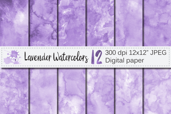 Lavender Watercolor Digital Paper Graphic Backgrounds By VR Digital Design