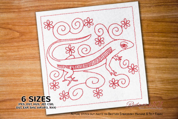 Lizard Redwork Reptiles Embroidery Design By Redwork101