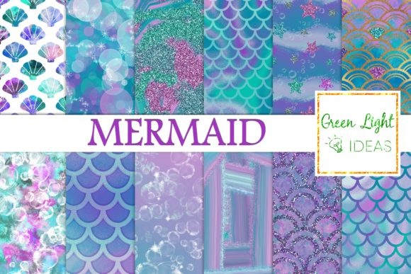 Mermaid Digital Papers, Fantasy Textures Grafik Hintegründe von GreenLightIdeas