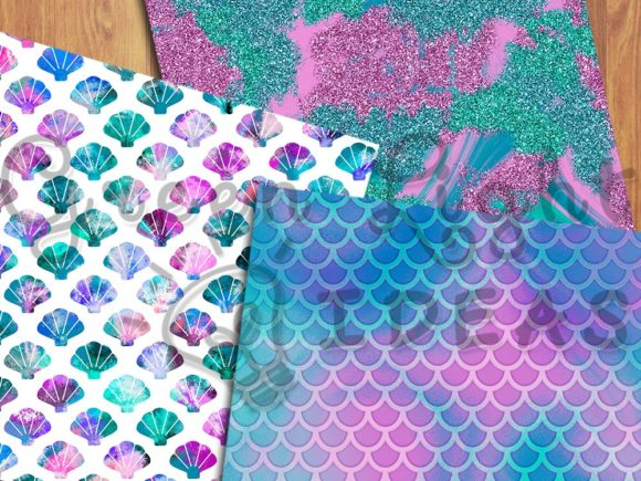 Mermaid Digital Papers, Fantasy Textures Graphic Backgrounds By GreenLightIdeas - Image 3