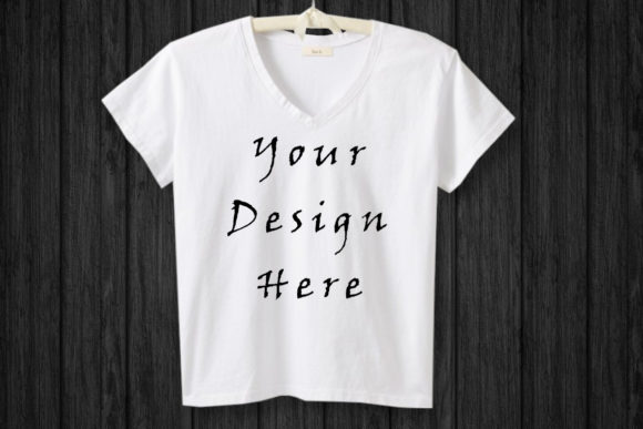 Mockup White T-shirt Hanging, Black Wood Graphic Product Mockups By ArtStudio