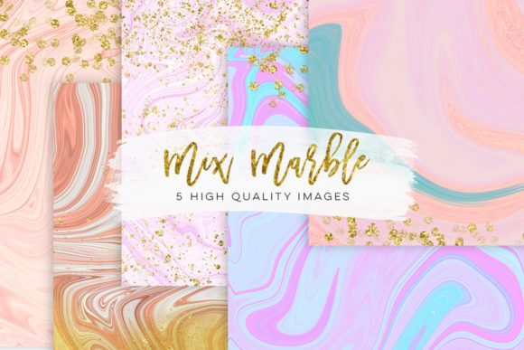 Print on Demand: Pastel Watercolor Modern Marble Clip Art Graphic Illustrations By SunflowerLove