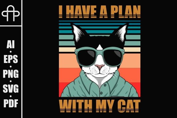 Print on Demand: Plan with Cat Retro Vector Illustration Graphic Illustrations By Andypp