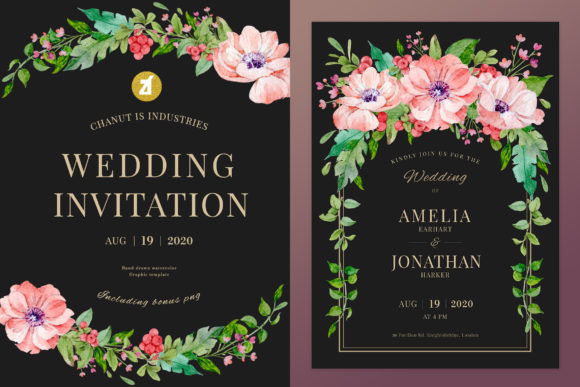 Poppy Cranberry Wedding Invitation Graphic Print Templates By Chanut is industries
