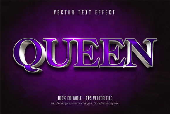 Print on Demand: Queen Text, Silver Editable Text Effect Graphic Graphic Templates By Mustafa Bekşen