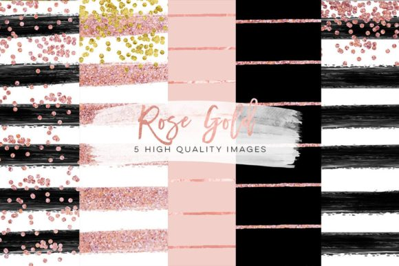 Print on Demand: Rose, Gold, Black Digital Paper Clip Art Gráfico Ilustraciones Por SunflowerLove