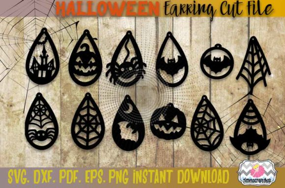 Spider Web, Bat, Haunted House Earrings Graphic Crafts By Timetocraftshop