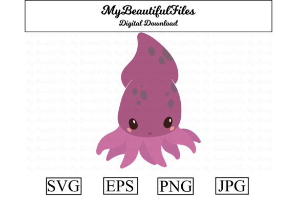 Print on Demand: Squid Clipart Design Graphic Illustrations By MyBeautifulFiles